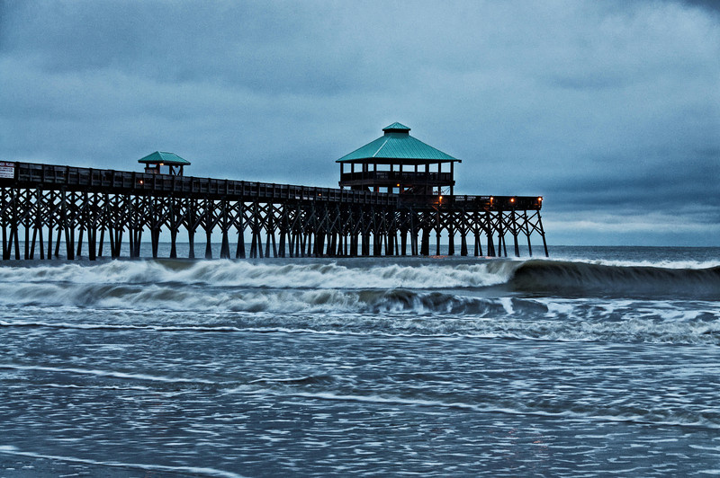 Folly Beach Pier and Morning Waves