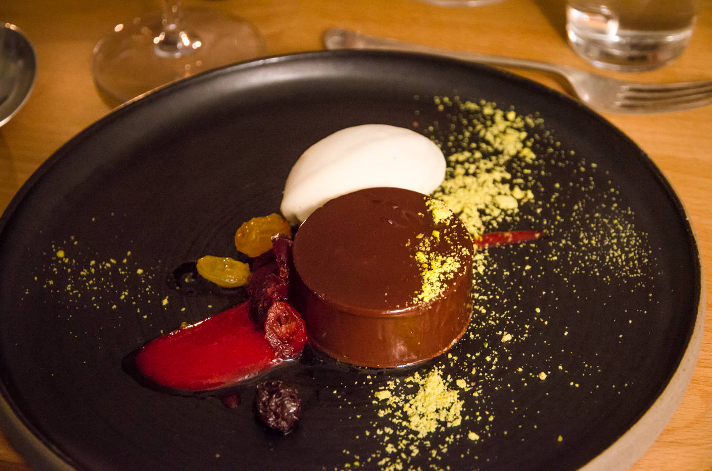 Plate of Valrhona fondant, banana and yoghurt ice cream from the Water House Project Supper Club