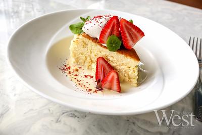 "Photo by CandaceWest.com,  Japanese style cheesecake ""Strawberry shortcake"" Mignonette Uptown: 13951 Biscayne Blvd., North Miami Beach, FL 33181"