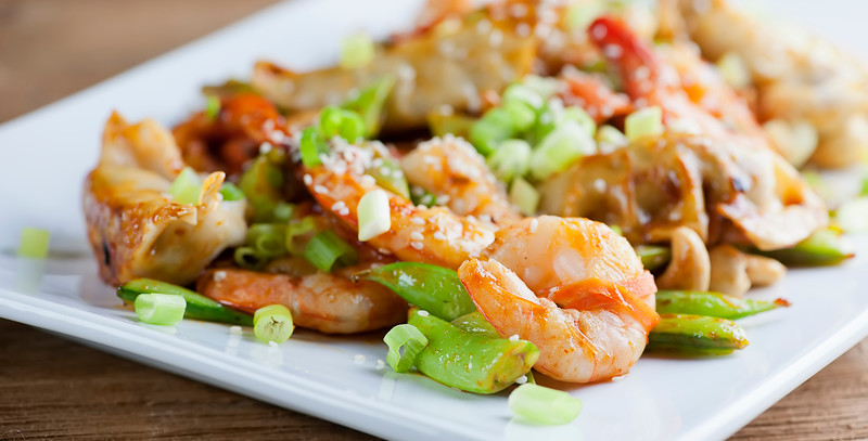 shrimp dumpling stir fry
