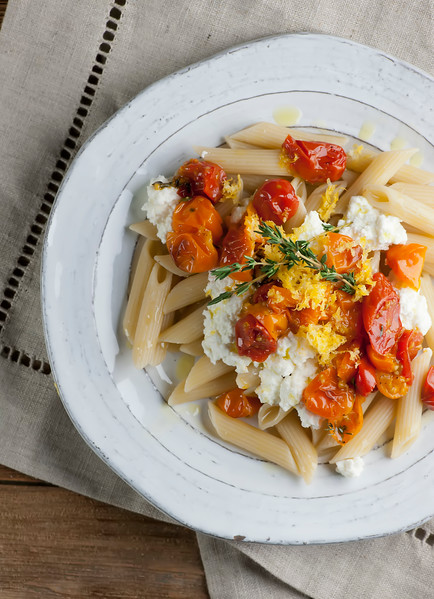 Penne with Roasted Tomatoes and Fresh Ricotta