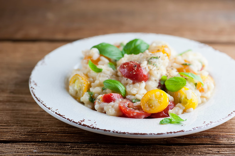 how to make risotto with tomato, basil and mozzarella