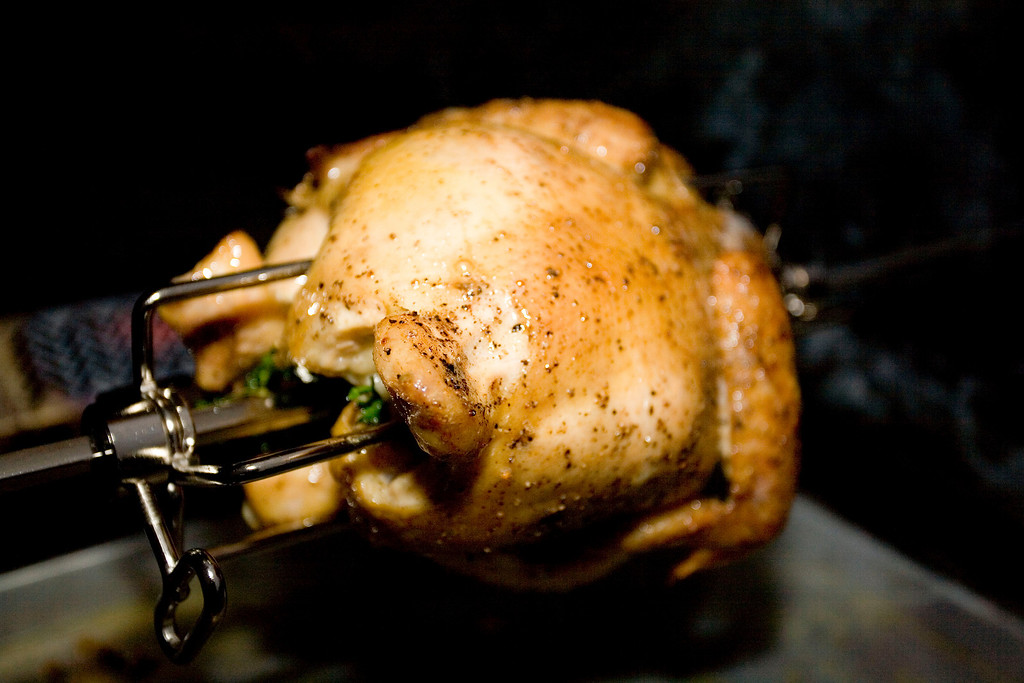 Spit roasted chicken