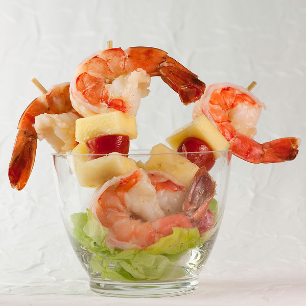 Shrimp and Pineapple Kebabs with Lime Vinaigrette