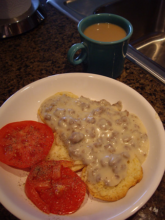 Finished biscuits and gravy.  The gravy was excellent.  I will need to practice in order to perfect the biscuits.  I think that I overmixed the batter.