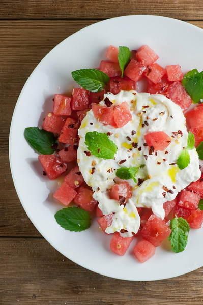 plate of watermelon burrata salad