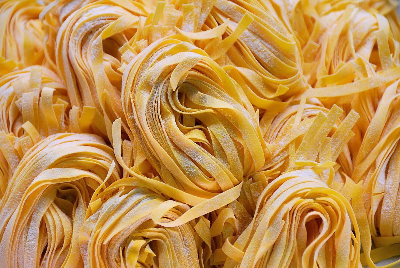 Closeup of a bunch of fresh pasta