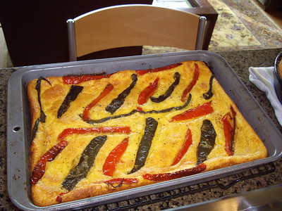 Corn pudding with roasted peppers.