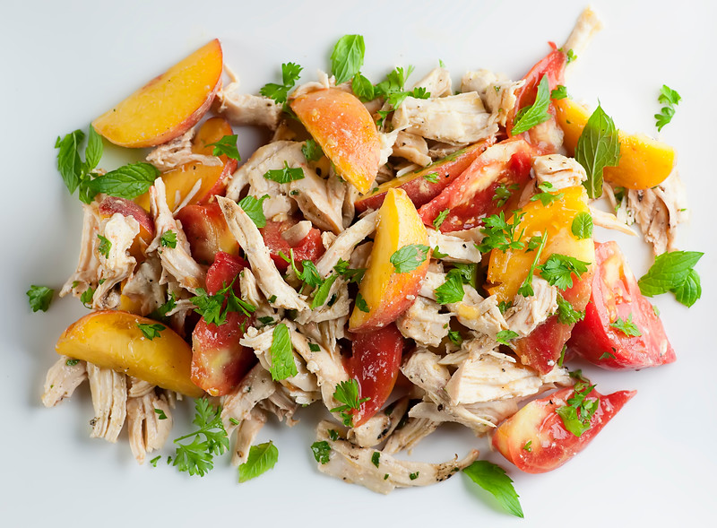 summer tomato peach chicken salad