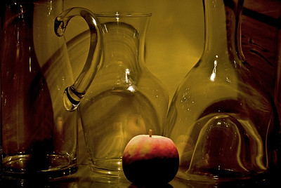 Apple and glassware.