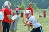 Members of the Souderton Area High School  football at morning  practice.    Monday, August 11, 2014.    Photo by Geoff Patton