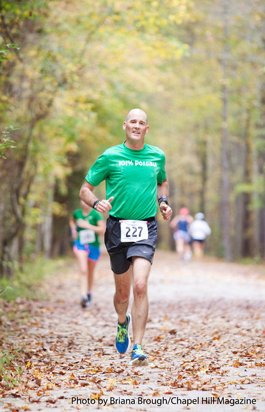 Tom O'donnell runs the American Tobacco 10-miler Saturday, October 27, 2012.