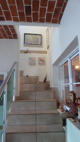 Stairway to bedroom in Chapala house.