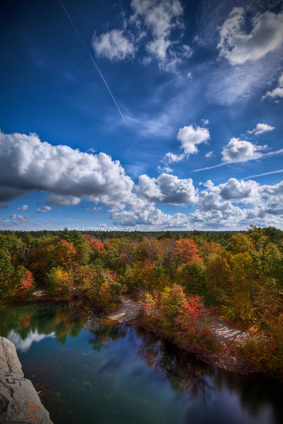 """Cumulus Clouds & Chemtrails over New England Foliage""<br /> October 14th, 2010<br /> <br /> On top of The Assonet Ledge<br /> Freetown State Forest, MA"