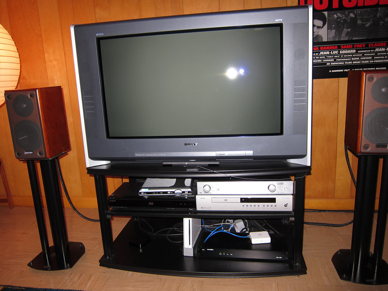 I bought this when I was working a contract with WTTW, and selected it based on the strong recommendations of the engineers there. It is a CRT, but can display 720p, has many inputs (including HDMI), and was professionally calibrated. Major downside: it weighs 200 pounds (but that could be an upside in that it's hard to steal). The base would be included, but not the other electronics. Model KD-34XBR960. I have the manual.
