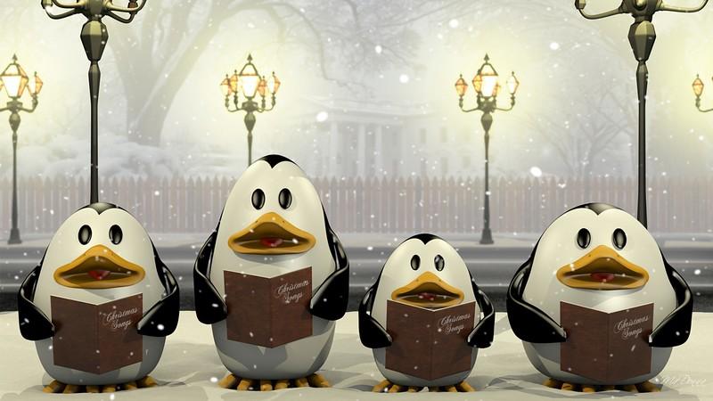 Singing Penguins Song Winter Caroling Christmas Lights Sing Lamp Posts Desktop Animated Wallpaper Free
