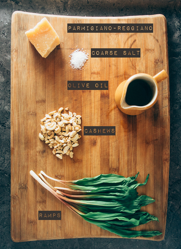 Ingredients for charred ramp (wild leek) pesto recipe. It is easy to make in a food processor. It takes five minutes to blend and will last for months in the freezer.