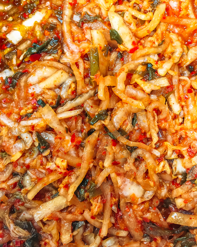 Easy ramp kimchi recipe also known as ramp-chi. This spin on a traditional kimchi recipe is so easy to make and makes great use of foraged ramps.