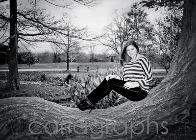 jane on the big tree bw-