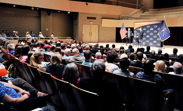 John P. Cleary    The Herald Bulletin<br /> Former U.S. Attorney General Eric Holder speaks at Anderson University for the observation of Constitution Day Tuesday drawing a packed house in York Performance Hall.