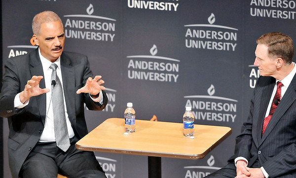 John P. Cleary    The Herald Bulletin<br /> Former U.S. Attorney General Eric Holder speaks at Anderson University for the observation of Constitution Day as AU President John Pistole asks questions.