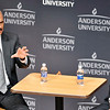 John P. Cleary |  The Herald Bulletin<br /> Former U.S. Attorney General Eric Holder speaks at Anderson University for the observation of Constitution Day as AU President John Pistole asks questions.