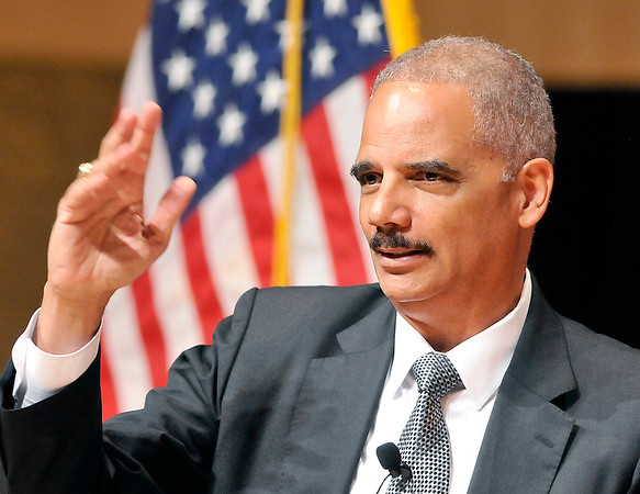 John P. Cleary |  The Herald Bulletin<br /> Former U.S. Attorney General Eric Holder speaks at Anderson University for the observation of Constitution Day Tuesday.