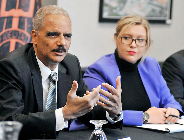 John P. Cleary |  The Herald Bulletin<br /> Former U.S. Attorney General Eric Holder speaks at Anderson University for the observation of Constitution Day.