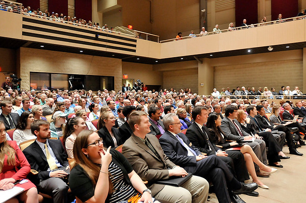 John P. Cleary |  The Herald Bulletin<br /> Former U.S. Attorney General Eric Holder speaks at Anderson University for the observation of Constitution Day Tuesday drawing a packed house in York Performance Hall.