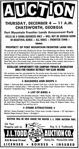 From page 3-E of the Rome News-Tribune, November 23, 1975 issue. Fort Mountain Frontier Land is advertised for sale to the highest bidder in an auction scheduled for December 4. The property now belongs to Carl and Charlotte Rittenhouse, who share beautiful views of the Chatsworth/Dalton area as viewed from their home.