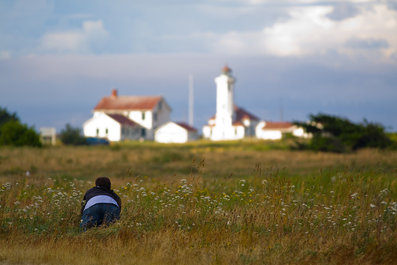Photographer sneaks up on lighthouse.