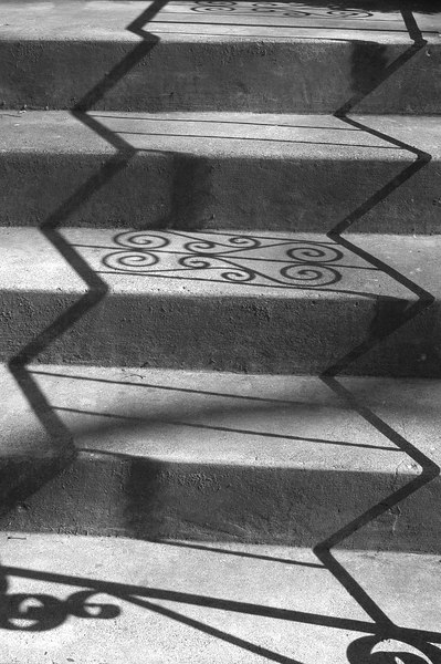 Shadows on steps, converted to black and white.