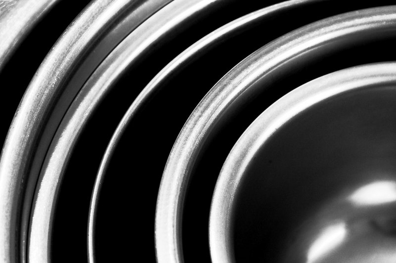 This close-up of nested stainless steel mixing bowls was converted to black & white in the channel mixer.