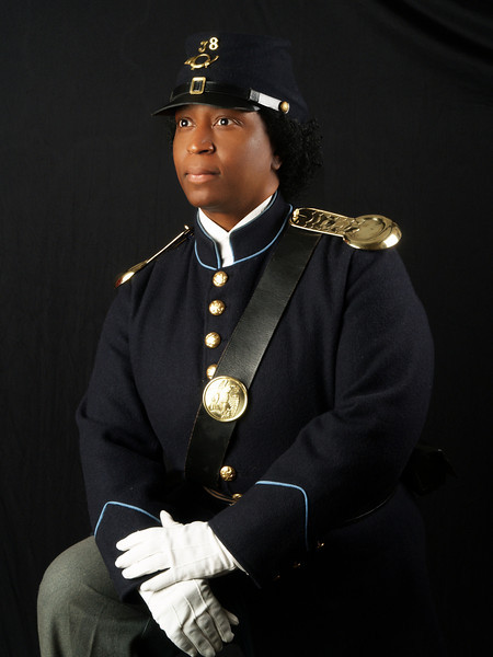 "Pvt. Michelle London-Marable portraying the 1st Black Female Buffalo Soldier, ""Cathy Williams, 1866 - 1868.  Cathy Williams disguised herself as a MAN and assuming the name ""William Cathay"" became a ""Buffalo Soldier"" serving in one of the six black units formed following the Civil War."