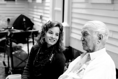 Anna and her grandfather (B+W).