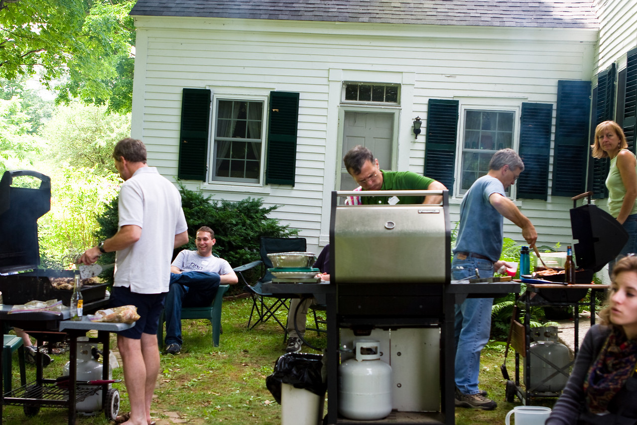The guys hard at work on their grilling.