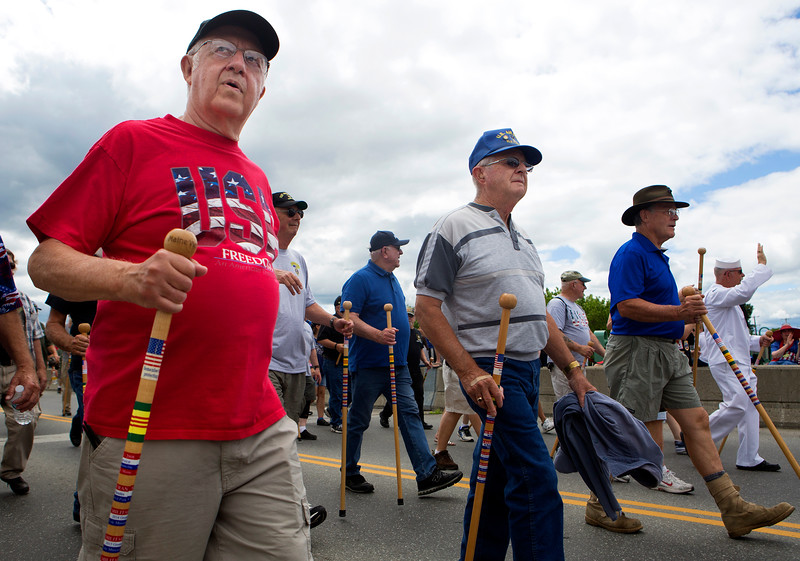 BANGOR, Maine -- 07/04/2017 - Vietnam veterans walk during the annual Fourth of July parade from Brewer to downtown Bangor Tuesday. Ashley L. Conti | BDN