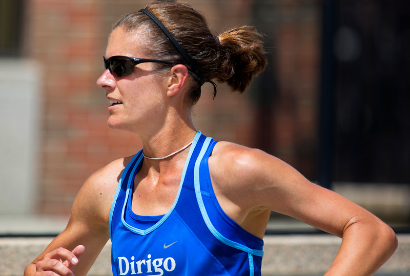 BANGOR, Maine -- 07/04/2017 - Tracy Guerrette turns towards the finish during the 37th Annual Walter Hunt 4th of July 3K road race from Brewer to Bangor Tuesday. Guerrette was the first female finisher. Ashley L. Conti | BDN