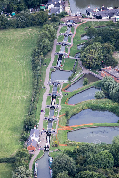 Aerial photo of Foxton Locks in Leicestershire.