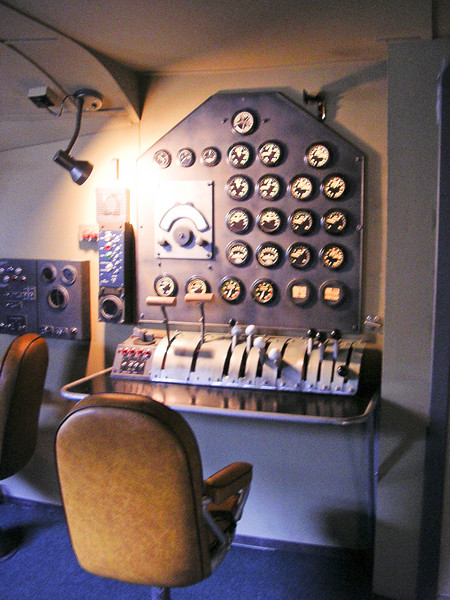 "<b>Boeing 314 Replica Engineer's Station</b> A view of the Flight Engineer's station on the museum's Boeing 314 full size replica aircraft, ""Yankee Clipper""."