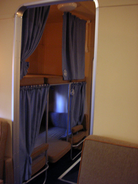 "<b>Boeing 314 Replica Interior</b>  Interior shot showing sleeping compartment of the full size Boeing 314 replica of the ""Yankee Clipper""."
