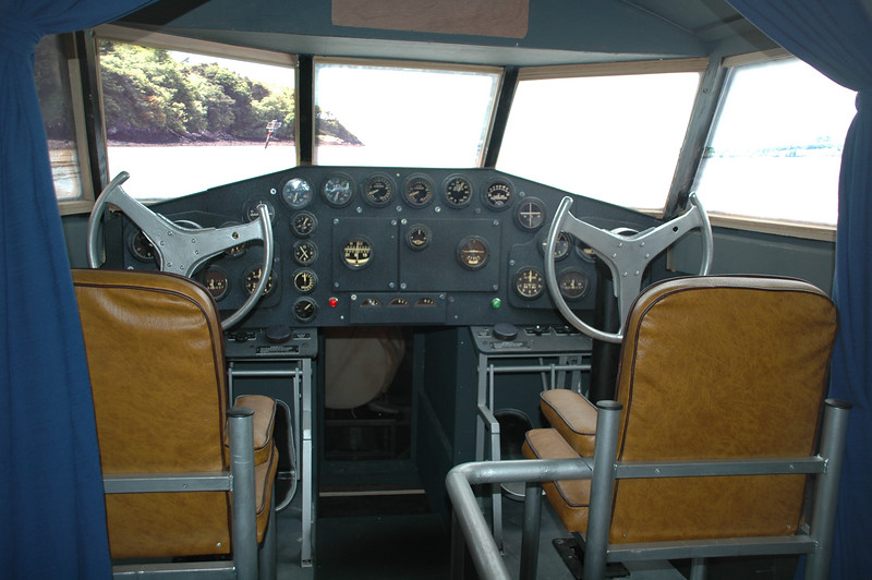 "<b>Boeing 314 Replica Cockpit</b> View of the cockpit of the museum's full size Boeing 314 replica, ""Yankee Clipper"".  Photo: David Brown / July 2006"