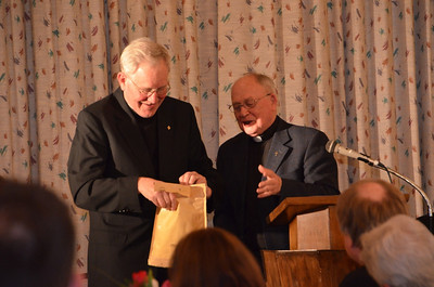 Receiving a gift from the Dutch Province; Fr. Jan is originally from the Netherlands.