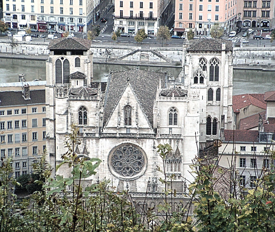View of St-Jean Cathedral from Fourvier Basillica, Lyon, France