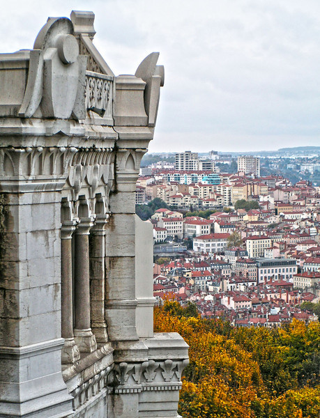 View of Lyon, France from Fourvier Basillica on a fall day.