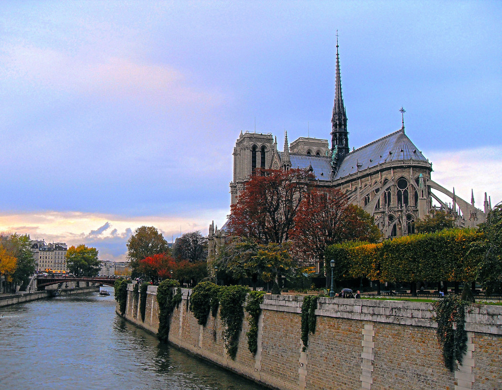 Notre Dame Cathedral, Paris, France on a lovely autumn day