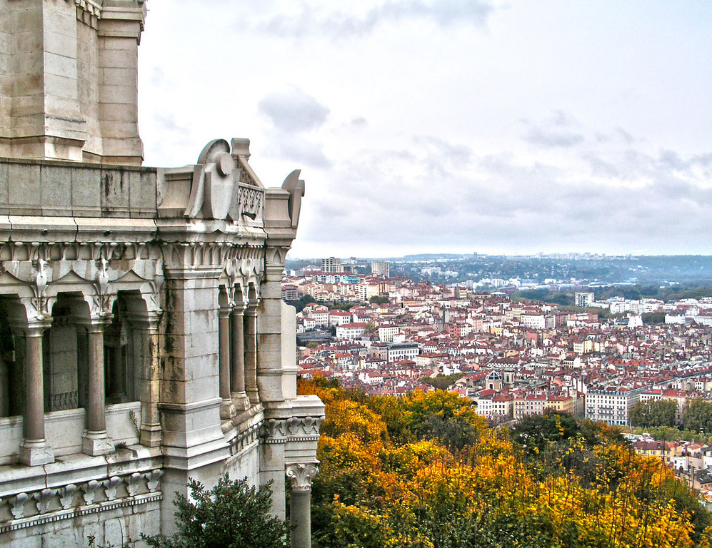 View of Lyon, France from Fourvier Basillica on an autumn day.