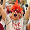 A Frankton Eagle fan cheers the team on.