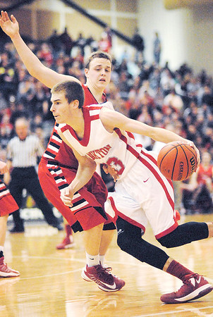 Frankton Eagle Aaron Korn drives toward the basket.