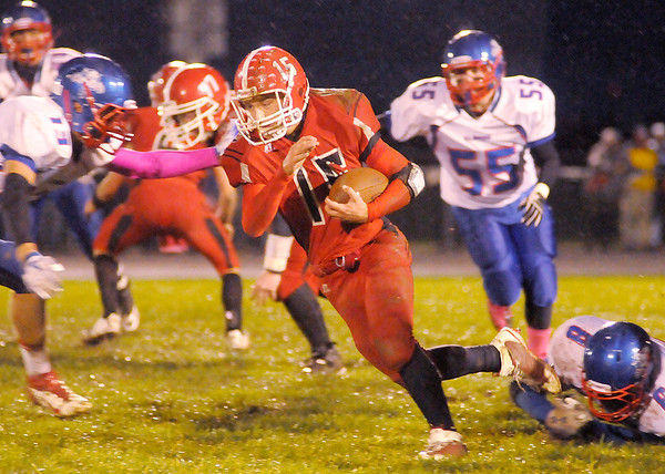 Frankton's Cole Douglas runs with the ball as the Eagles hosted the Elwood Panthers on Friday.